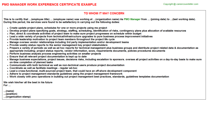 Pmo Manager Experience Letter Template