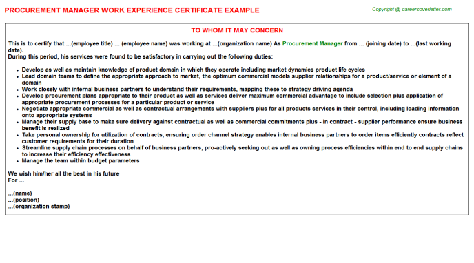 Procurement Manager Experience Certificate Template