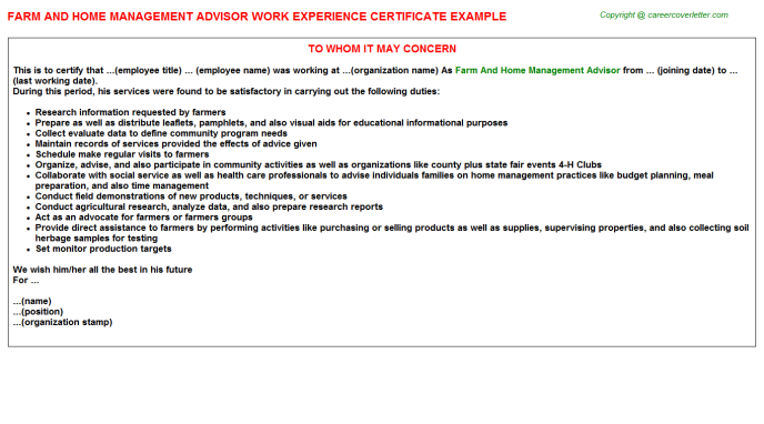Farm And Home Management Advisor Experience Letter Template