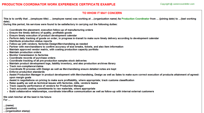 Production Coordinator Experience Letter Template