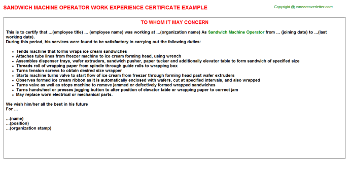 sandwich machine operator experience letter template