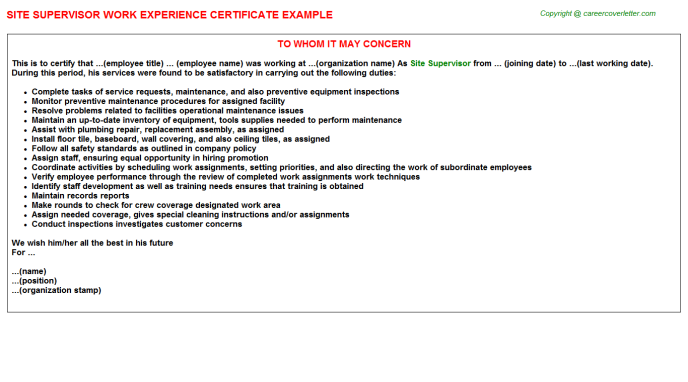 site supervisor experience letters