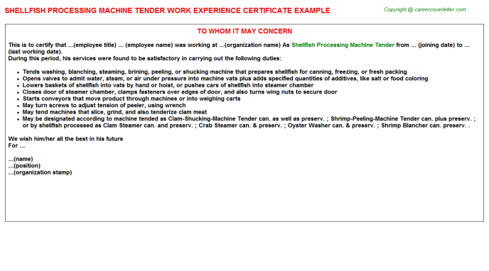 shellfish processing machine tender experience letter template