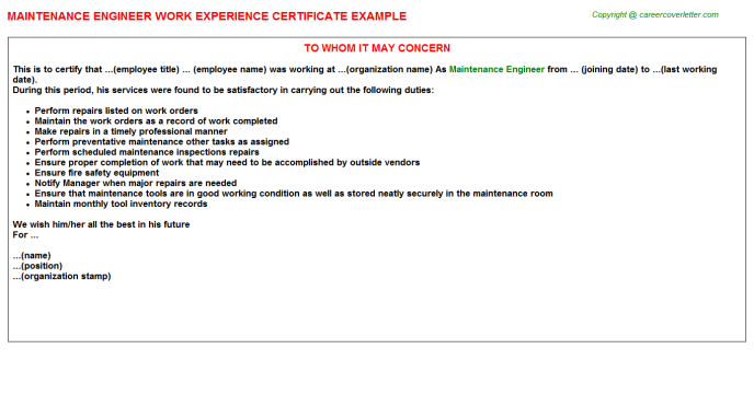 Maintenance Engineer Experience Letter Template