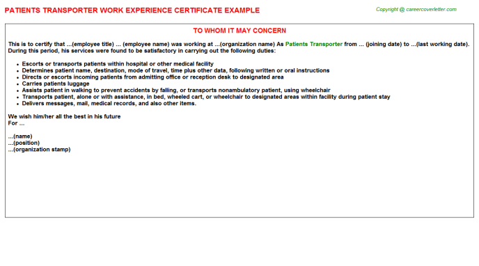 patients transporter experience letter template