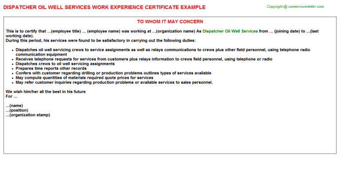 Dispatcher Oil Well Services Experience Letter Template
