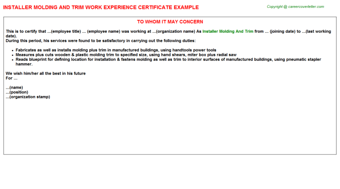 Installer Molding And Trim Work Experience Letter | Experience Letters