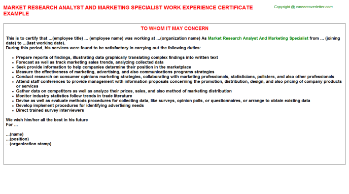 Market research analyst and marketing specialist work experience letter (#24456)