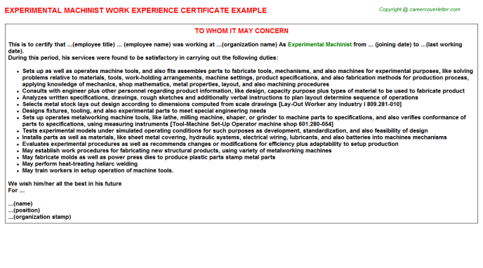 experimental machinist experience letter template