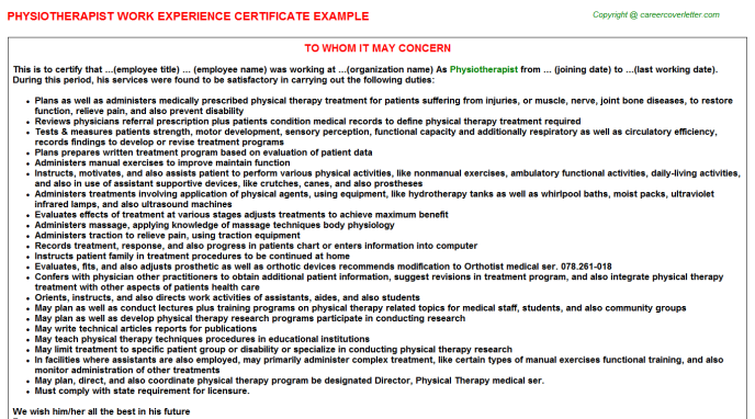 Physiotherapist Work Experience Certificate Template