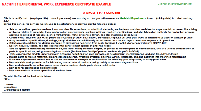 machinist experimental experience letter template