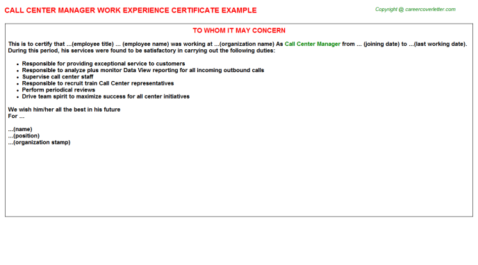 Call Center Manager Experience Certificate Template