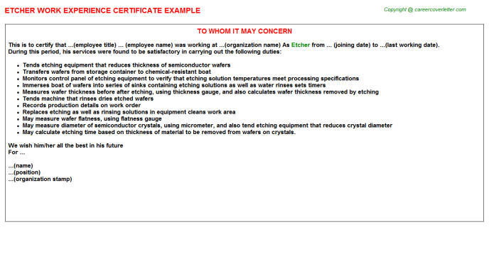 Etcher Experience Letter Template