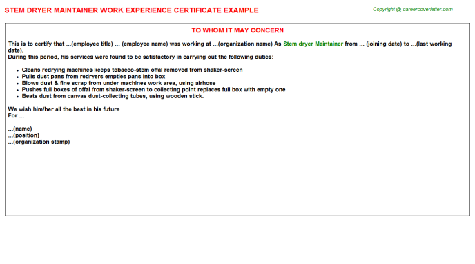 stem dryer maintainer experience letter template