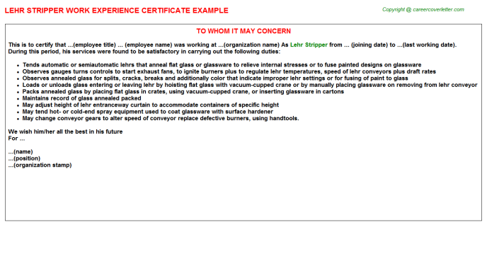Lehr Stripper Experience Letter Template