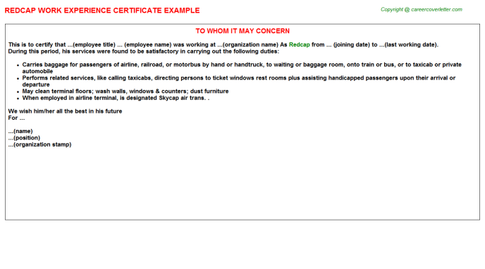 Redcap Experience Letter Template