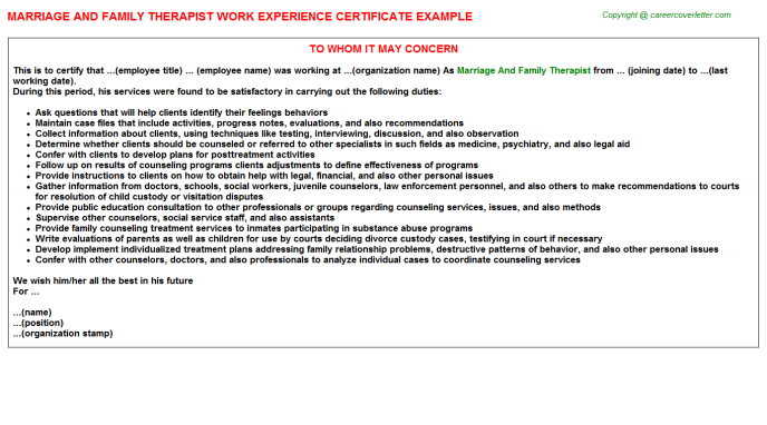 Marriage And Family Therapist Experience Letter Template