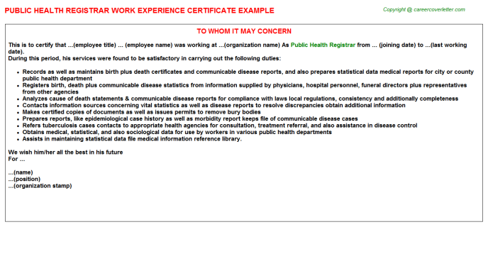 public health registrar experience letter template