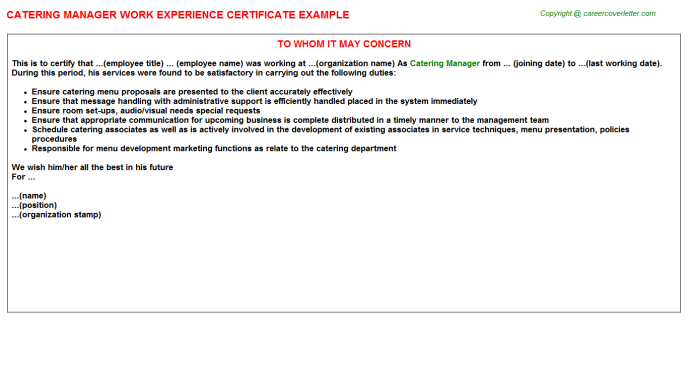 Catering Manager Experience Letter Template