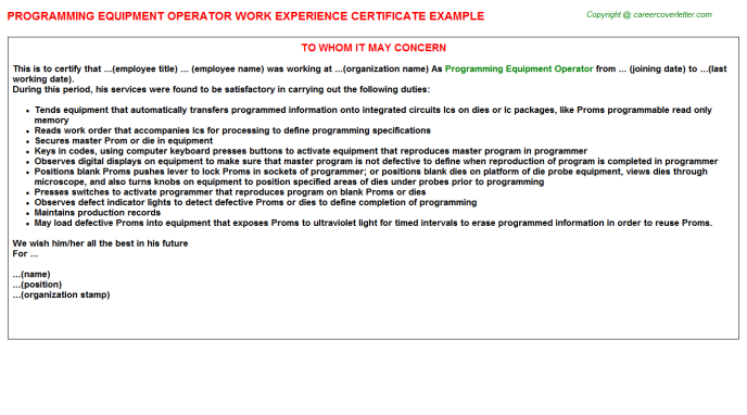 Programming Equipment Operator Experience Letter Template
