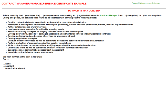 Contract Manager Experience Letter Template