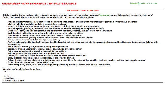 Farmworker Experience Certificate Template
