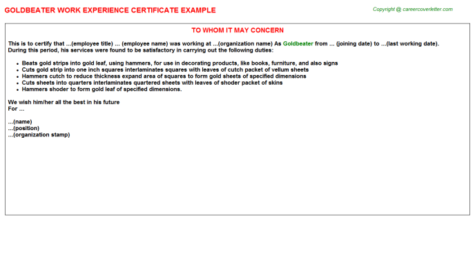 Goldbeater Experience Letter Template