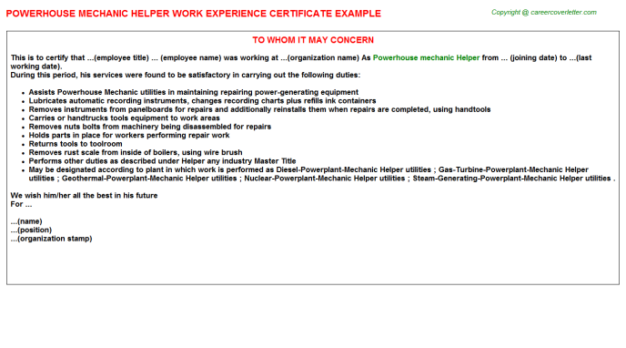 Powerhouse Mechanic Helper Work Experience Letter