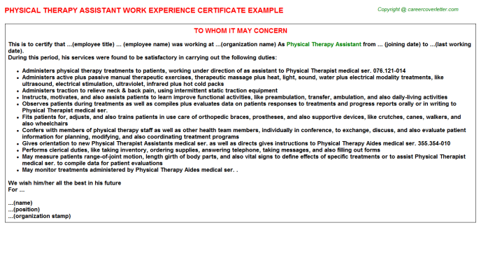 Physical therapy assistant work experience letter (#966)