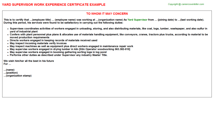 Yard Supervisor Experience Letter Template