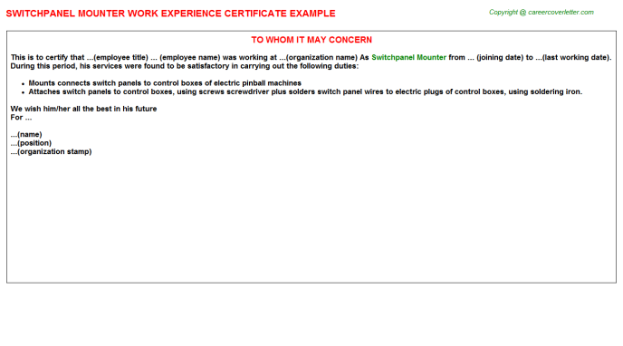 Switchpanel Mounter Experience Letter Template