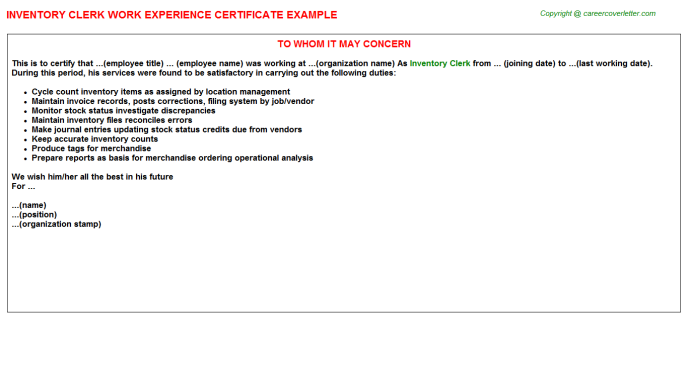 Inventory Clerk Experience Letter Template