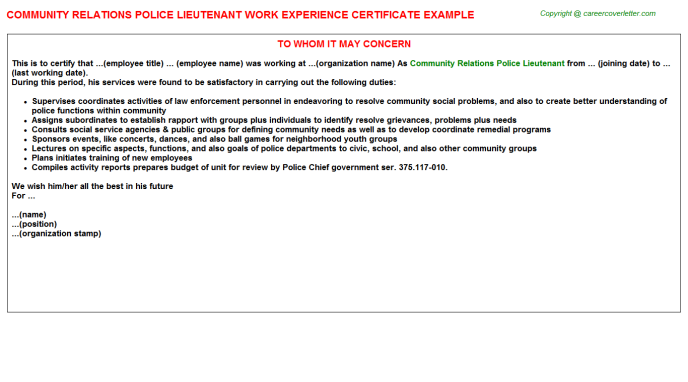 community relations police lieutenant experience letter template