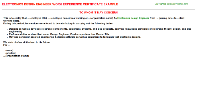 Electronics Design Engineer Experience Letter
