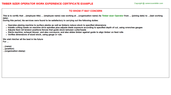 Timber sizer Operator Experience Letter Template