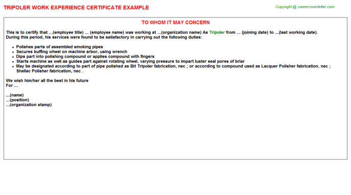 Tripoler Experience Letter Template