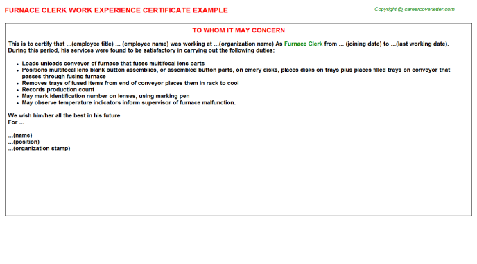 Furnace Clerk Experience Letter Template
