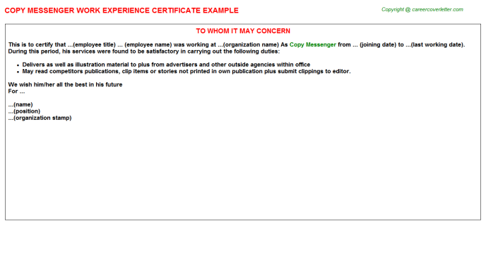 Copy Messenger Experience Letter Template