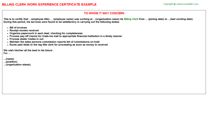 Billing Clerk Experience Letter Template
