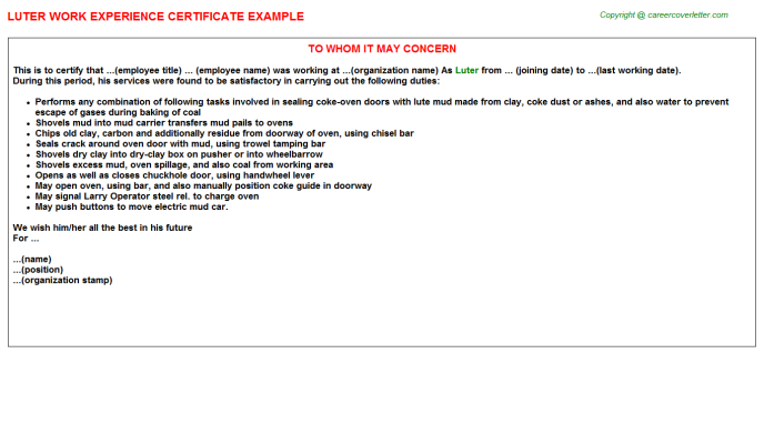 Luter Experience Letter Template