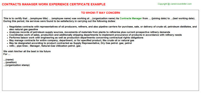 Contracts Manager Experience Letter Template