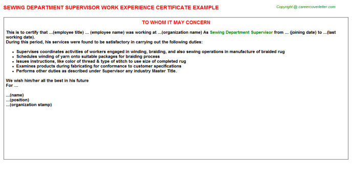 Sewing Department Supervisor Experience Letter Template