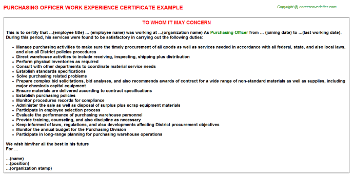 Purchasing Officer Experience Letter Template