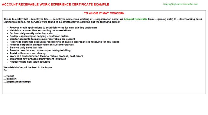 Account Receivable Experience Letter Template