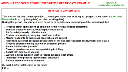 Account Receivable Work Experience Letter Template
