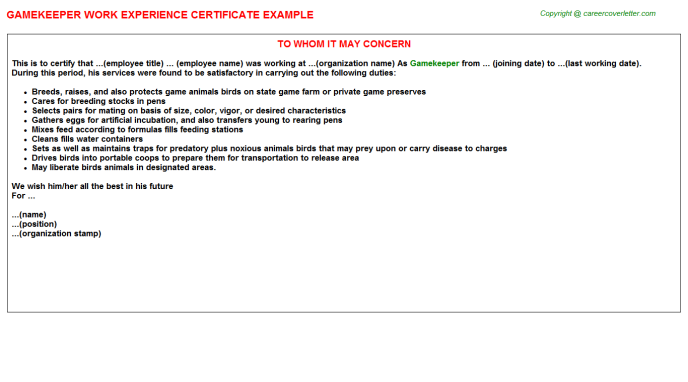 Gamekeeper Experience Letter Template