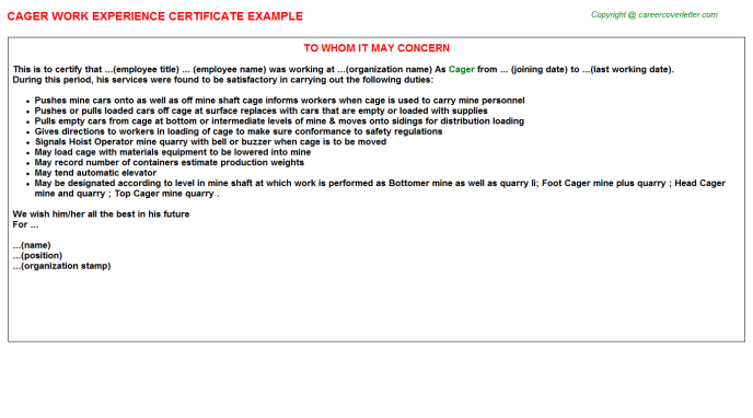 Cager Experience Letter Template