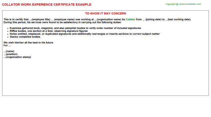 Collator Experience Letter Template