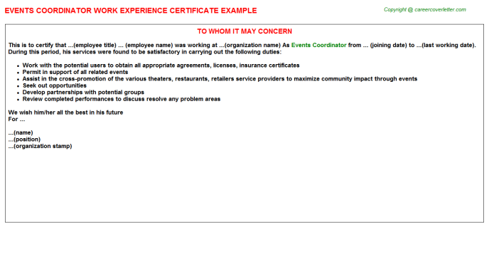 Events Coordinator Experience Letter Template