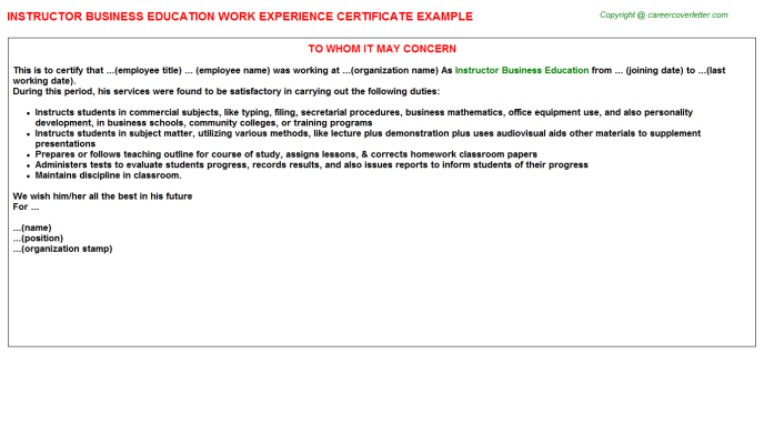 Instructor Business Education Job Experience Letter Template